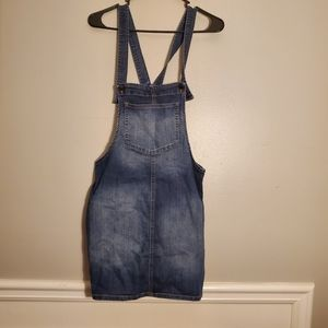 Dark wash pinafore denim dress